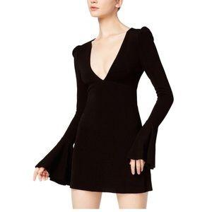 Free People Black Bell Sleeve Cocktail Dress